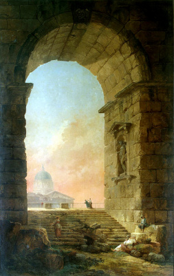 Hubert Robert. Landscape with an arch and the dome of St. Peter's Cathedral in Rome