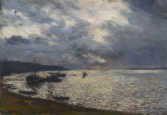 Isaac Levitan. Cloudy day on the Volga