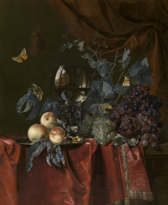 Willem van Aelst. Still life with grapes, peaches and römer