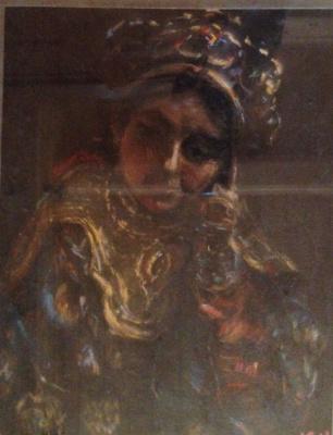 "Юрий Григорьевич Ушков. ""Тибетка"", 1970-е гг., бум./пастель, 29х22"