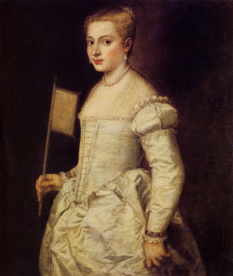 Titian Vecelli. Portrait of a lady in white