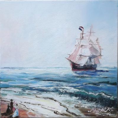 """Arseniy Donov. """"Ship off the coast of France"""""""