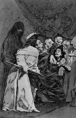 """Francisco Goya. A series of """"Caprichos"""", page 58: Swallow it, dog!"""