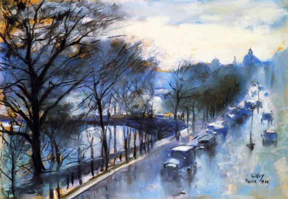 Lesser Ury. Paris, a rainy day on the quay Voltaire
