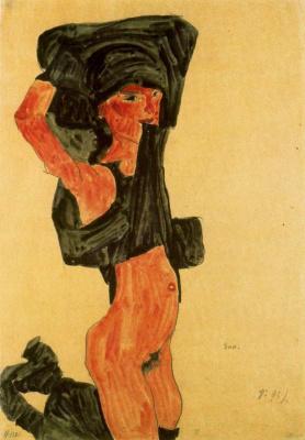 Egon Schiele. The girl standing on her knees