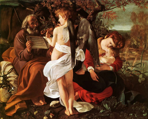 Michelangelo Merisi de Caravaggio. Rest on the flight into Egypt