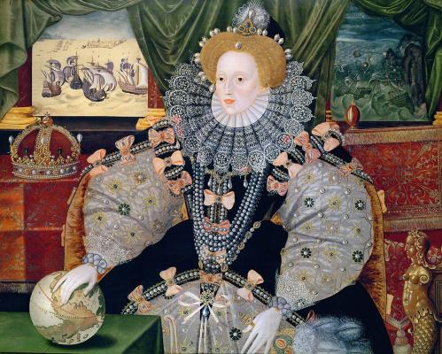 "Masterpieces of unknown artists. Portrait of Queen Elizabeth I ""the Invincible Armada"""