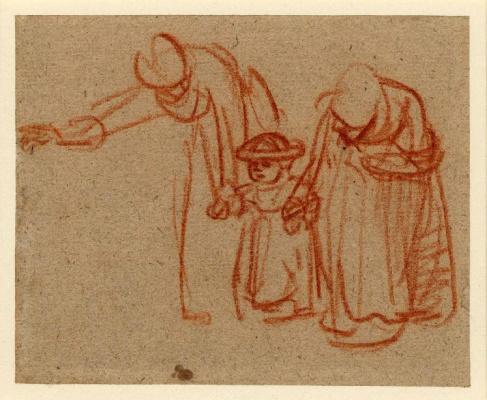 Рембрандт Харменс ван Рейн. Две женщины учат ребёнка ходить