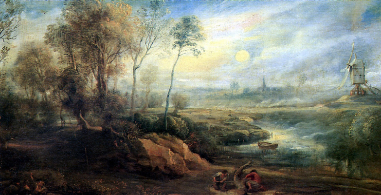 Peter Paul Rubens. Landscape with a bird-catcher