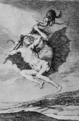 """Francisco Goya. A series of """"Caprichos"""", page 66: come on, take it easy!"""