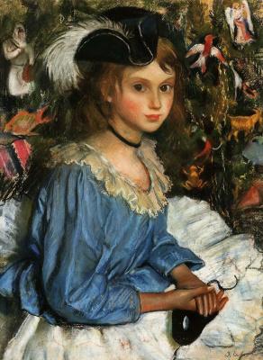 Zinaida Serebryakova. Katya in blue by the tree