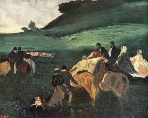 Edgar Degas. Landscape with riders