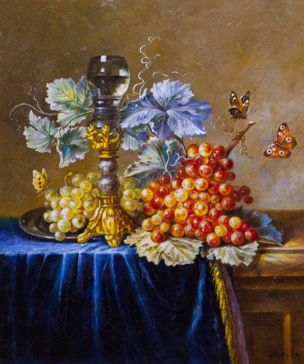 Savely Kamsky. Still life with grapes and butterflies