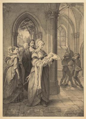 Двенадцать рисунков по пьесе Фридриха Шиллера «Песнь о колоколе»: «Весёлый звон святого пира встречает милое дитя…»
