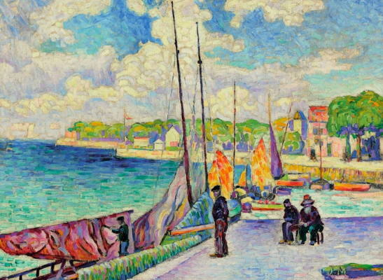 Jean Metzinger. A small port, fishermen and boats at dock