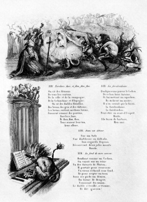 Charles-Francois Daubigny. Illustrations to the collection of French folk songs and songs: the Temptation of St. Anthony, the second vignette