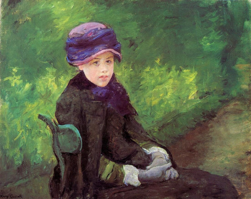 Mary Cassatt. Susan seated outdoors in a purple hat