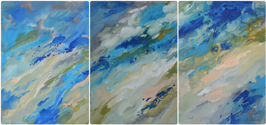 "Tanya Vasilenko. ""Lightness"", a triptych. Acrylic. Canvas. Aethereality, triptych, all parts. . Acrylic on canvas."