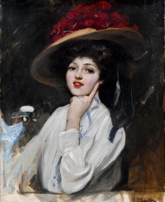 Хоакин Соролья (Соройя). Портрет девушки в шляпе (Ракель Меллер)