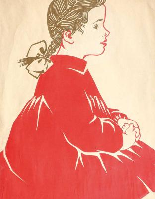 Екатерина Валерьяновна Раскина. Вита (девочка в красном платье). Конец 1960-х. Бумага, коллаж (аппликация).