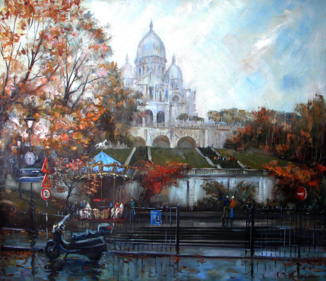 Виталий Викторович Жердев. Paris. La Basilique du Sacré Cœur de Montmartre. By Vitaliy Zherdev. Oil on canvas. 100 x 85 cm.