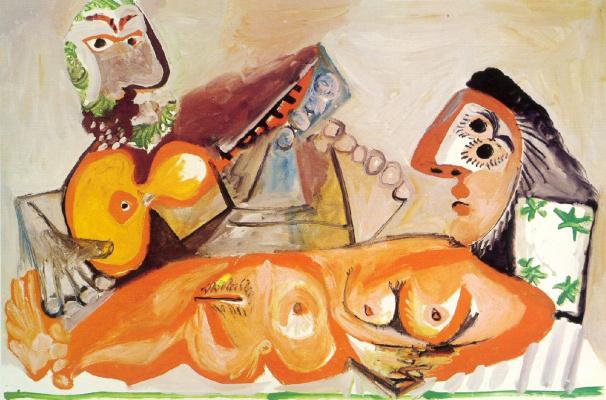 Пабло Пикассо. Лежащая обнажённая и мужчина, играющий на гитаре