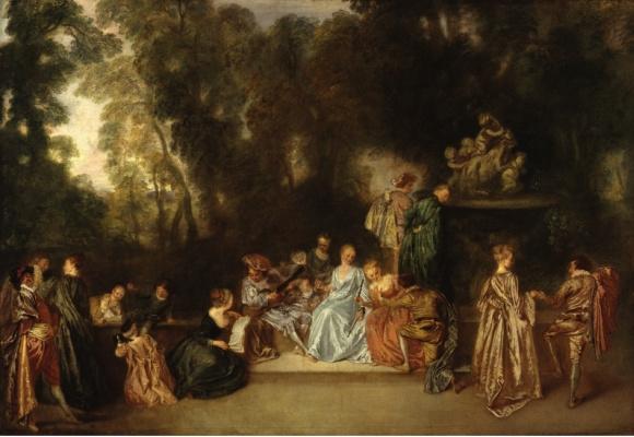 Antoine Watteau. Company outdoors