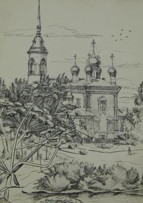 """Ольга Евгеньевна Климова. """"Церкви Ярославля"""", авторская графика, тушь, бумага."""