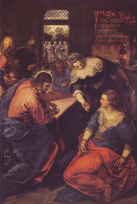 Jacopo (Robusti) Tintoretto. Christ in the house of Martha and Mary