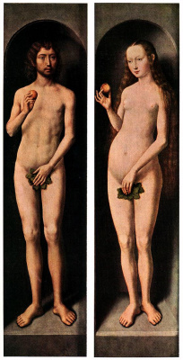 Hans Memling. Small triptych of St. John the Baptist. Side panel, outer side: Adam and eve