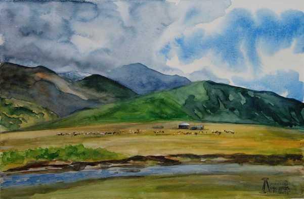 Larissa Lukaneva. The Chuya steppe. Yurt.
