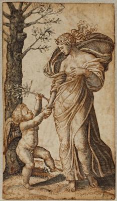 Marcantonio Raimondi. Allegory of the peace or the Reconciliation of Minerva and Cupid
