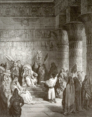 Paul Gustave Dore. Bible Illustration: Joseph Interprets Pharaoh's Dream