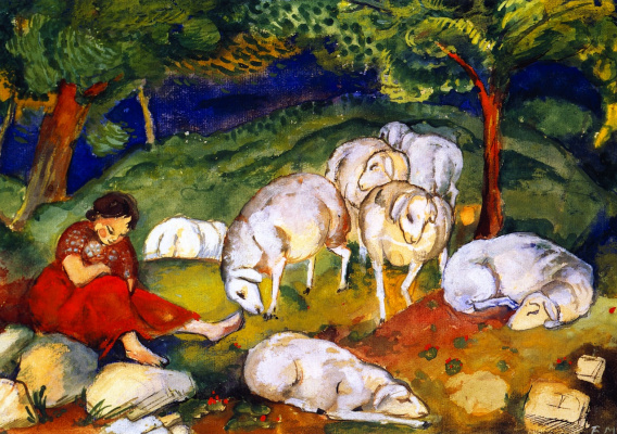 Франц Марк. Пастушка с овцами