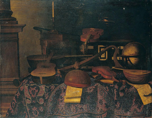 Bartolomeo bettera. Still life with musical instruments, a globe of the sky, books, a candle and other objects on a table covered with a carpet