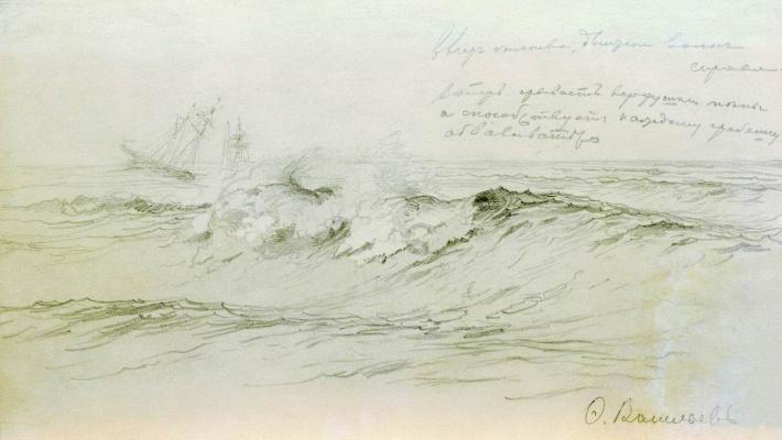 Fedor Alexandrovich Vasilyev Russia 1850 - 1873. Sea with ships. 1871-1873 Sketch