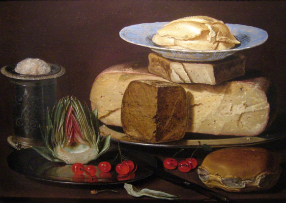 Clara Peeters. Still life with cheeses, artichoke and cherries