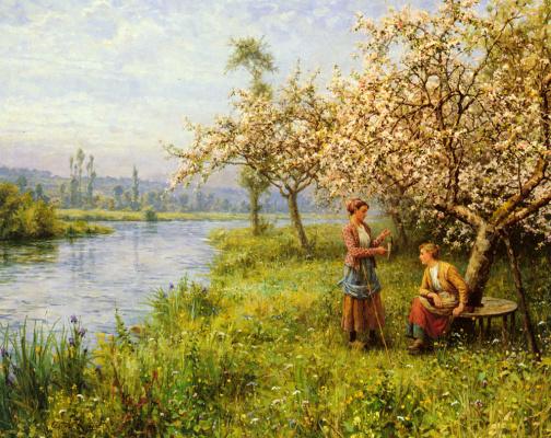 Луи Астон Найт. Деревенская женщина после рыбалки летним днем