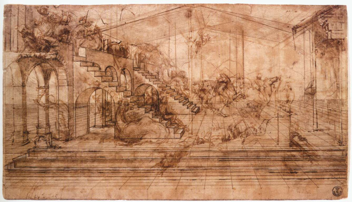 "Leonardo da Vinci. Perspective sketch of the ""adoration of the Magi"""