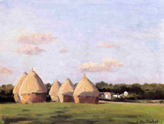 Gustave Caillebotte. Harvest. Landscape with five haystacks