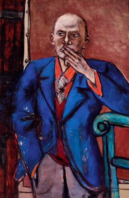 Max Beckmann. Self-portrait in blue jacket