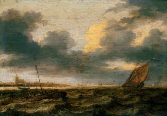 Ян Порселлис. Рыбацкие лодки в неспокойном море