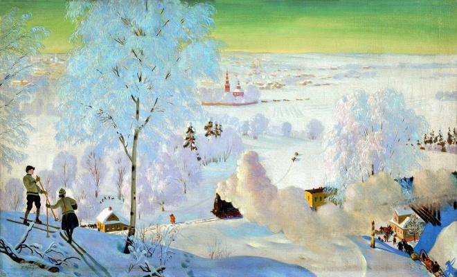 Boris Mikhailovich Kustodiev. Skiers