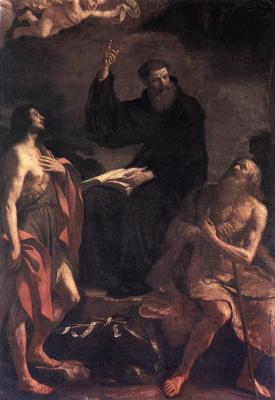 Джованни Франческо Гверчино. Блаженный Августин, Иоанн Предтеча и Павл Отшельник