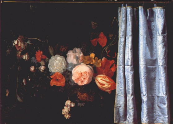 Цветочный натюрморт с занавеской