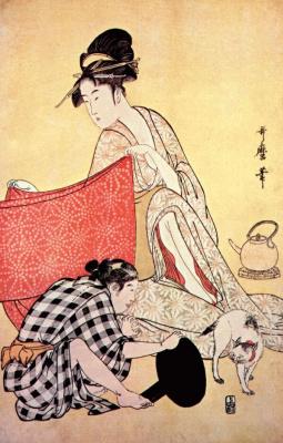Китагава Утамаро. Женщины шьют платья 4-Правая панель