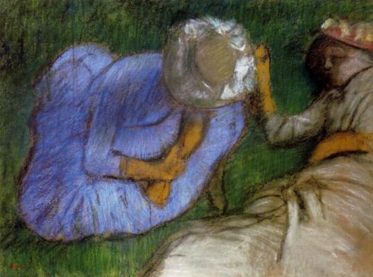 Edgar Degas. Young women resting in a field