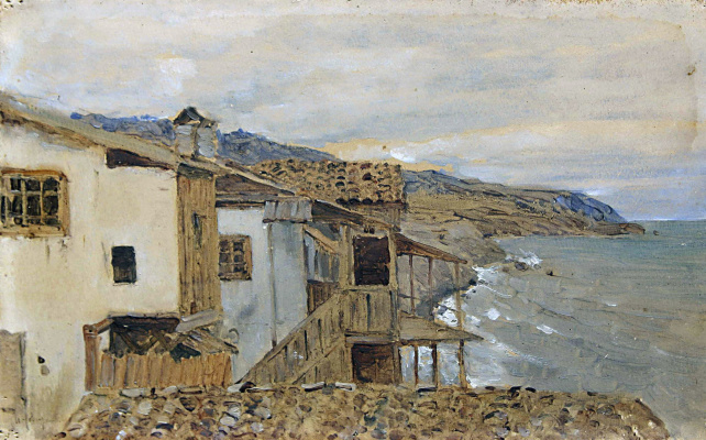 """Isaac Levitan. The view of the sea. Crimea. A sketch for the painting """"At the shore of the sea. Crimea"""""""