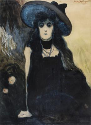 Леон Спиллиарт. 1907_Любительница абсента (La buveuse d'absinthe)_105 х 77_бумага, акварель, гуашь, тушь, цветные мелки