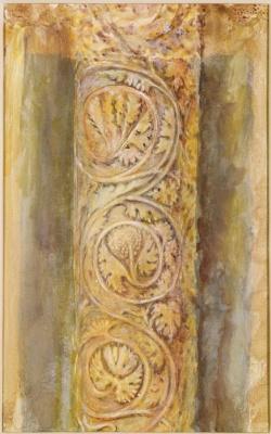John Ruskin. Carved eastern door column, Baptistery, Pisa